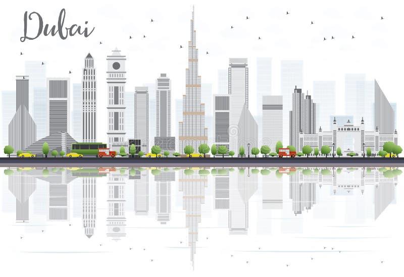 De de Stadshorizon van Doubai met Gray Skyscrapers en de Bezinningen isoleren vector illustratie