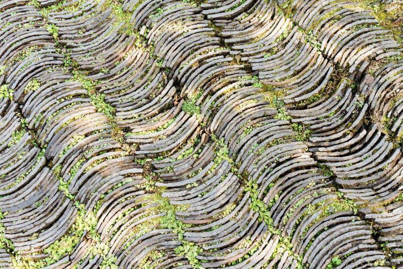 De de steenweg van de krommevorm schikt op vloer stock fotografie