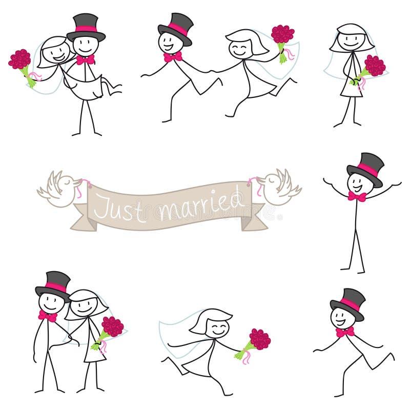 De de stickman bruid en bruidegom van het huwelijkspaar stock illustratie