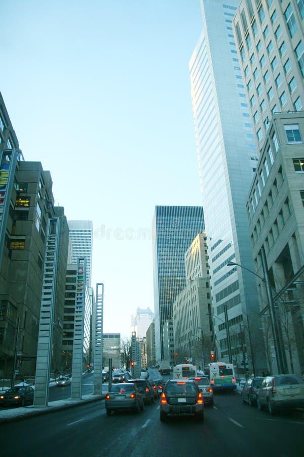 De de straatscène van de binnenstad van Montreal stock foto