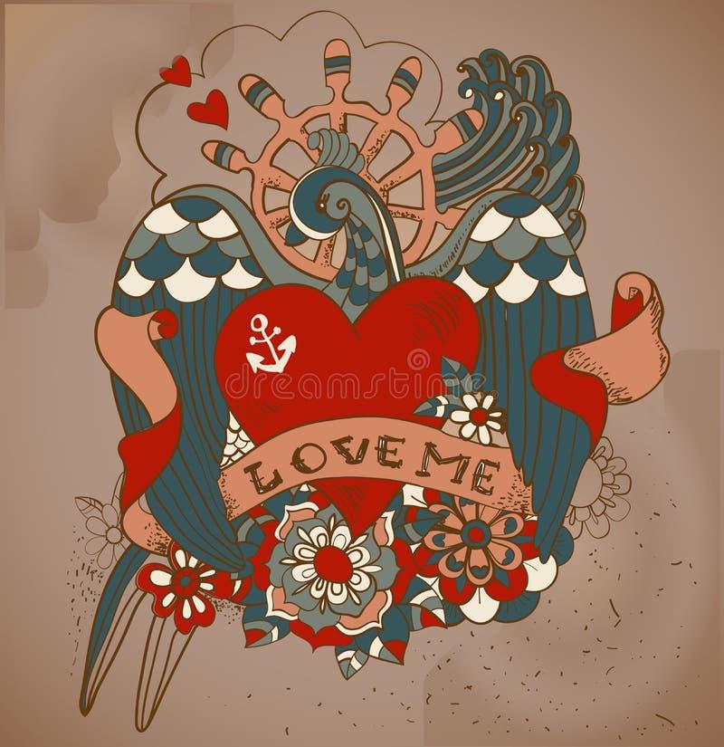 De de tatoegeringskaart van de oud-schoolstijl met slikt, bloemen en lint, Vi stock illustratie