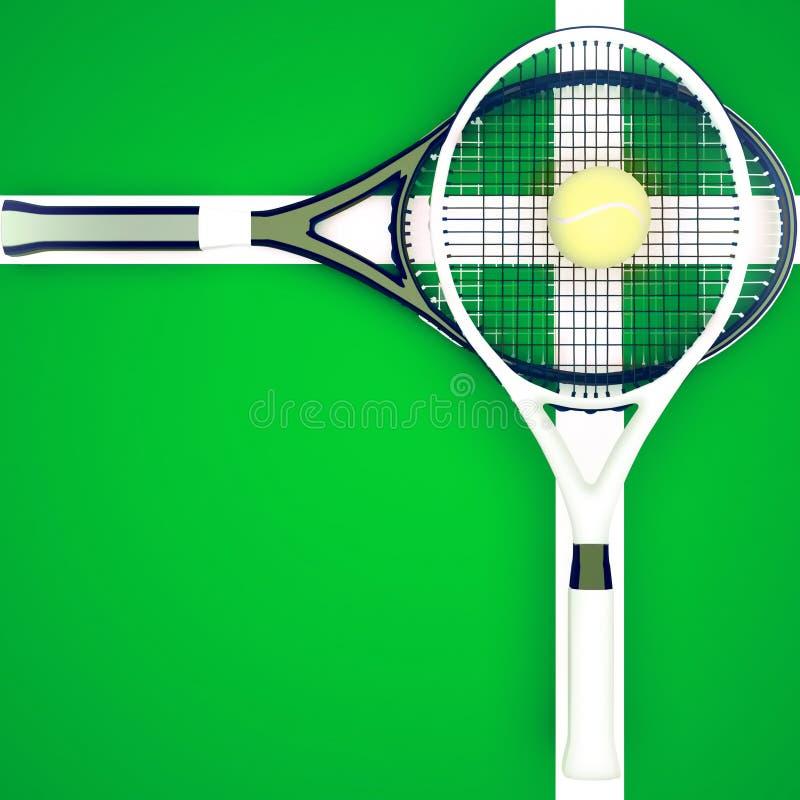 De de tennisrackets en bal worden gevestigd op groen hof stock illustratie