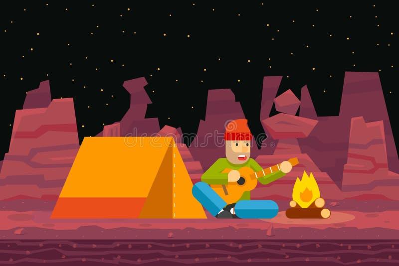 De de Tentreiziger van het nachtkamp zingt en speelt Gitaar stock illustratie