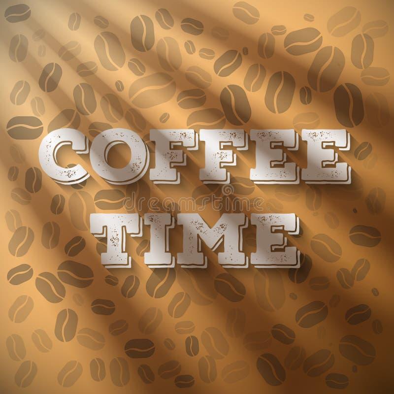 De de Tijduitdrukking van de ochtendkoffie met Zon glanst Gloed die uit Wi komen royalty-vrije illustratie