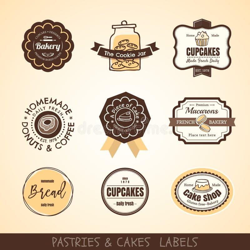 De de uitstekende etiketten en kaders van het bakkerijembleem stock illustratie