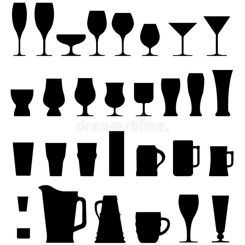 De de vector Koppen en Glazen van de Alcohol