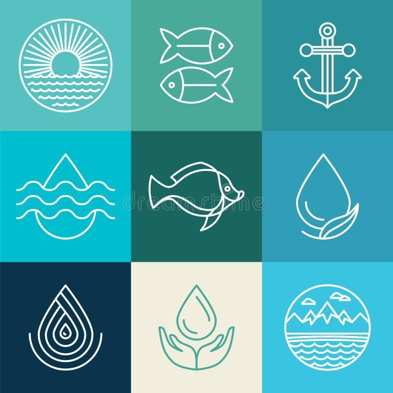 De de vectorpictogrammen en emblemen van de waterlijn royalty-vrije illustratie