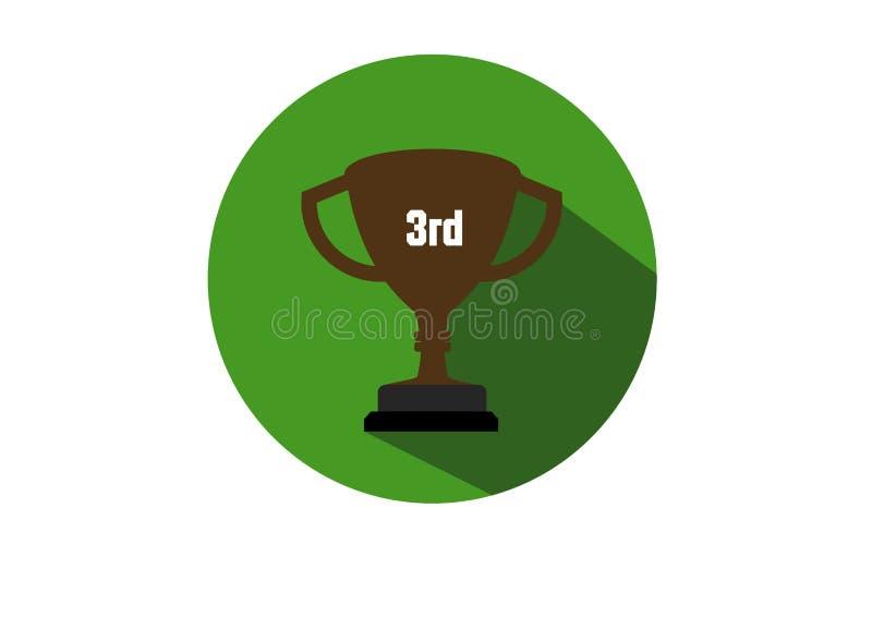 De 3de vlakke kampioen van de trofeekop stock illustratie