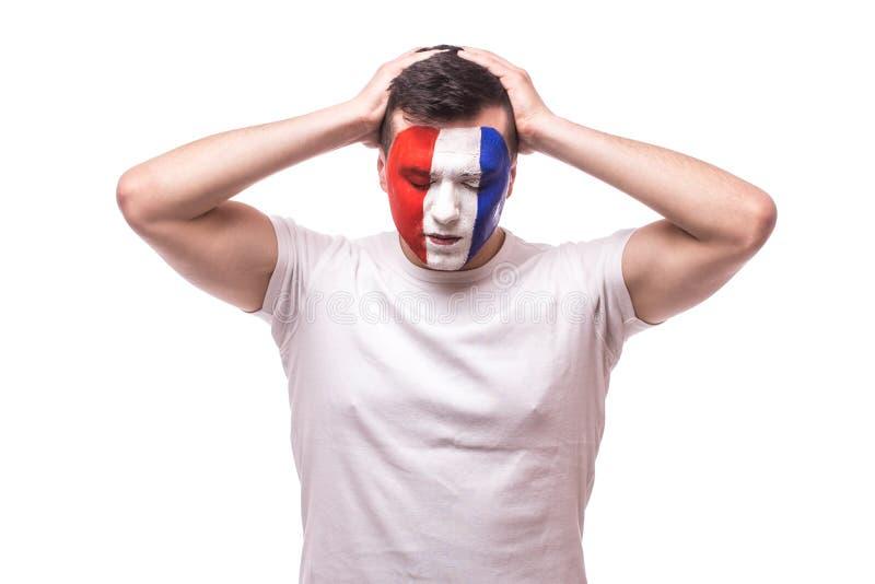 De de voetbalventilator van Frankrijk van score van het spel wordt teleurgesteld of verliest spel van nationaal de voetbalteam da stock afbeelding