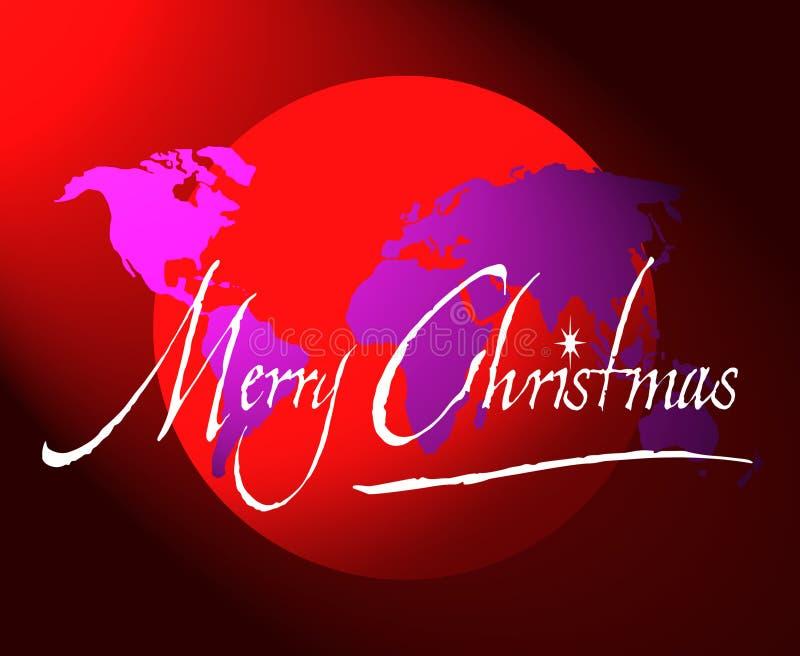 De de vrolijke kaart of bol van de Kerstmiswereld stock illustratie