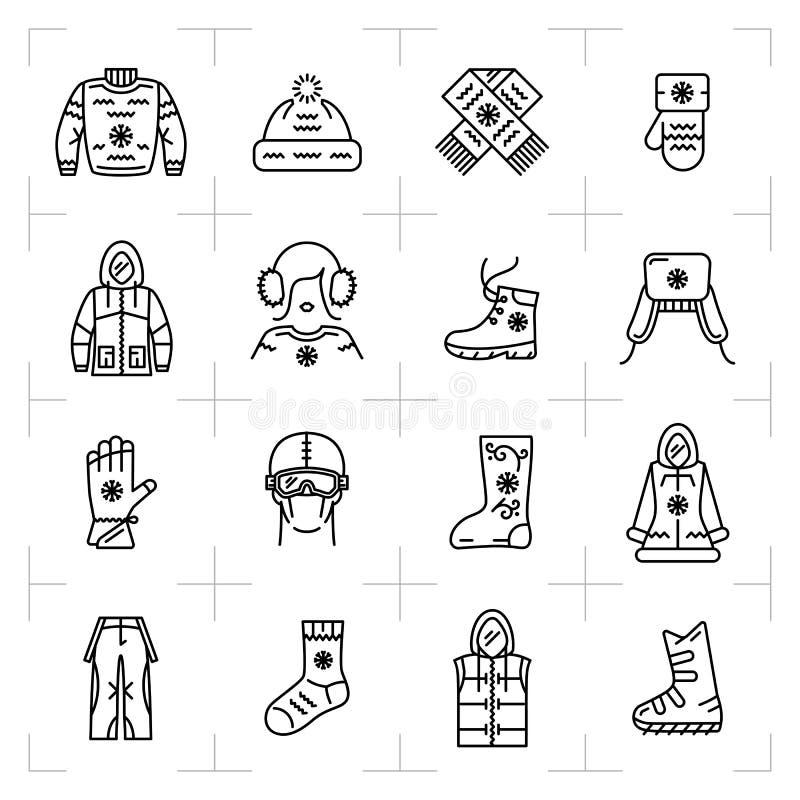 De in de winterkleren isoleerden geplaatste lijnpictogrammen, sport, het snowboarding, ski royalty-vrije illustratie