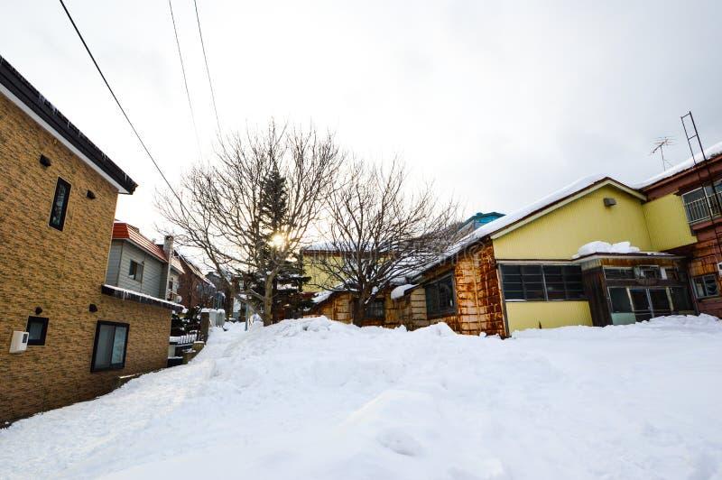 De de winterscène bij Motomachi-park, zet Hakodate, Hokkaido, Japan op royalty-vrije stock foto's