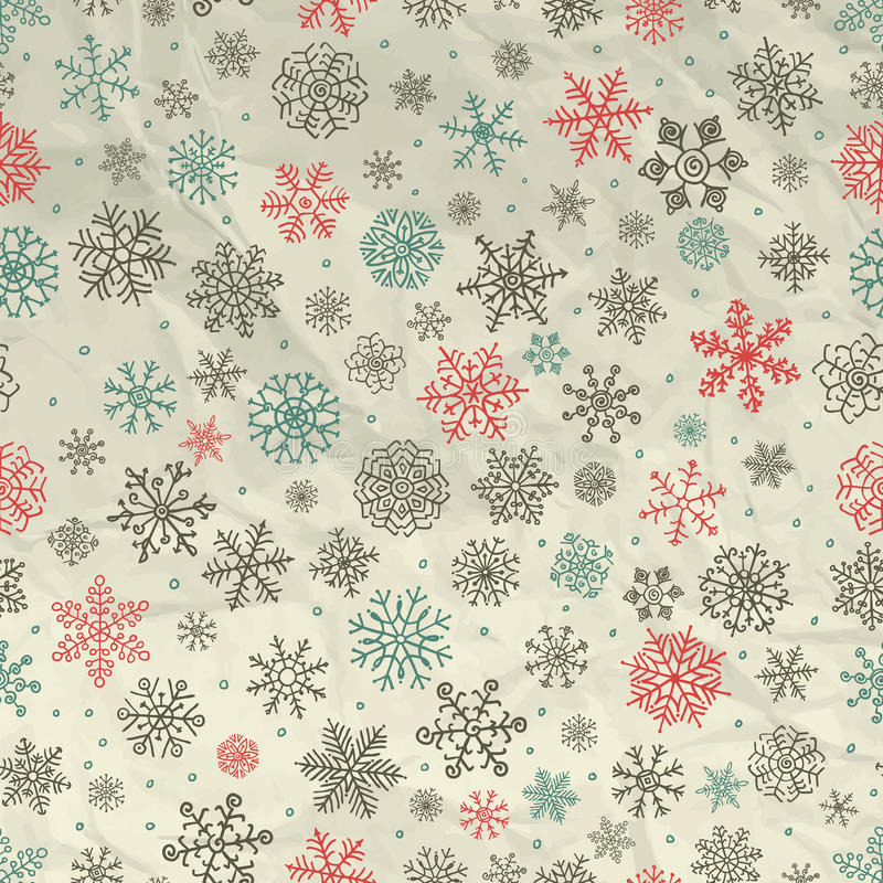 De de wintersneeuw schilfert Naadloze Achtergrond op Verfrommeld af stock illustratie
