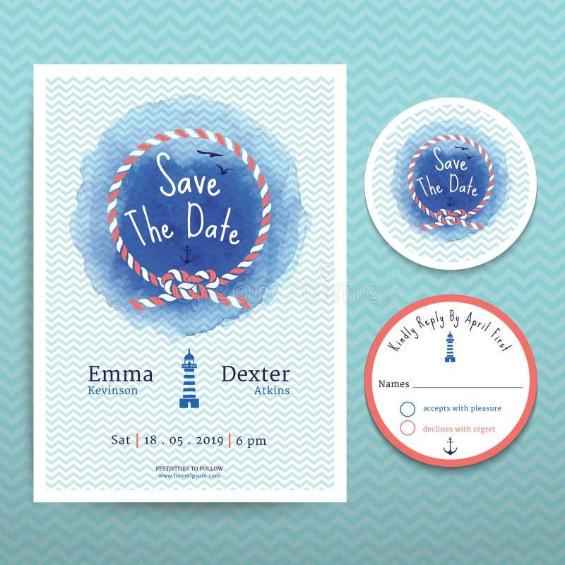 De de zeevaartuitnodiging van het de kleurenhuwelijk van het kabelwater en RSVP-reeks van het kaartmalplaatje royalty-vrije illustratie