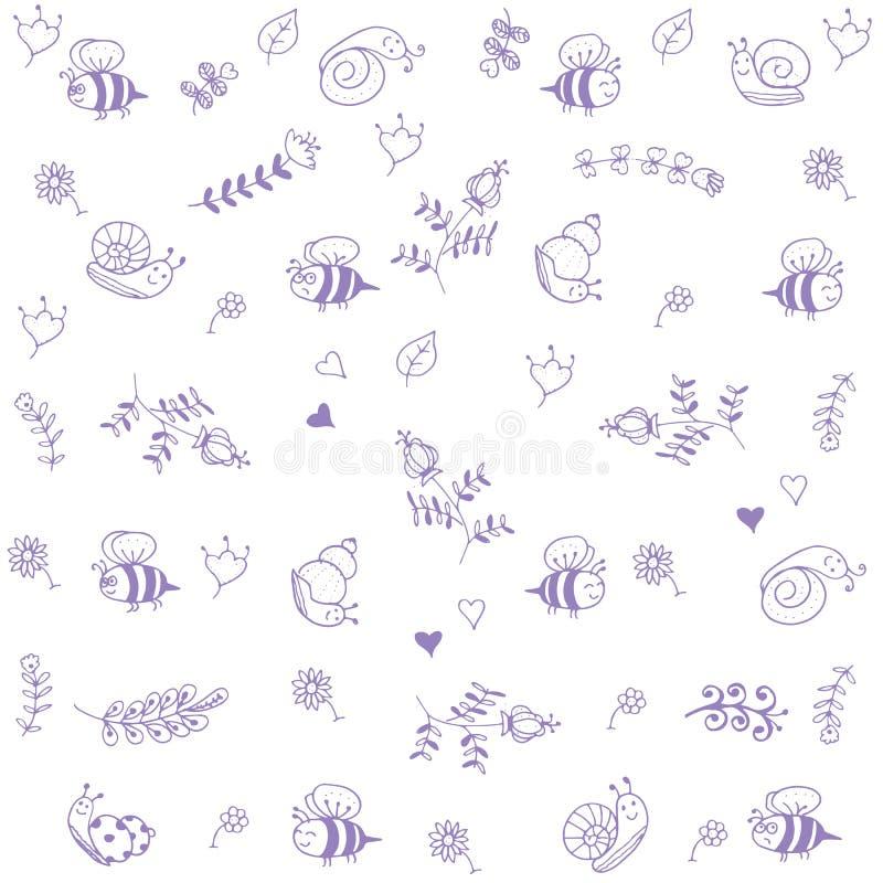 De de zoete bij en slak van de babyskrabbel stock illustratie