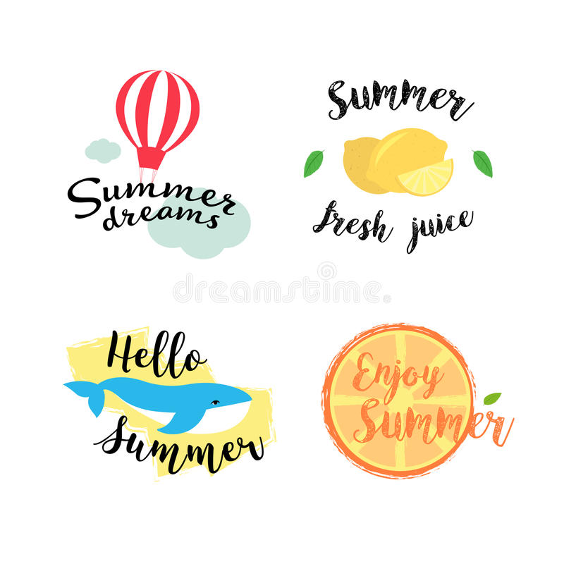 De de zomeretiketten, emblemen, hand getrokken markeringen en elementen plaatsen voor de zomervakantie, reis, strandvakantie, zon stock illustratie