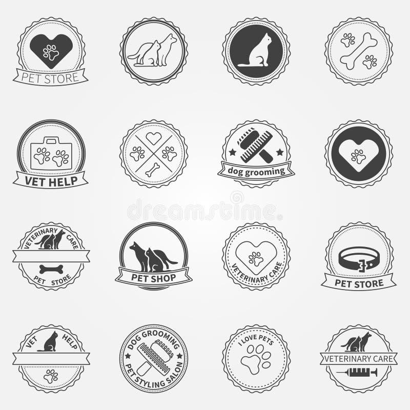 De de zwarte emblemen en kentekens van hondans katten vector illustratie