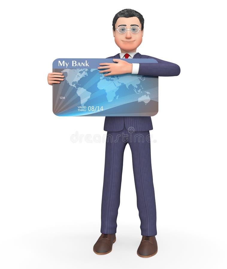 De debetkaart vertegenwoordigt Creditcards en Faillissement het 3d Teruggeven royalty-vrije illustratie