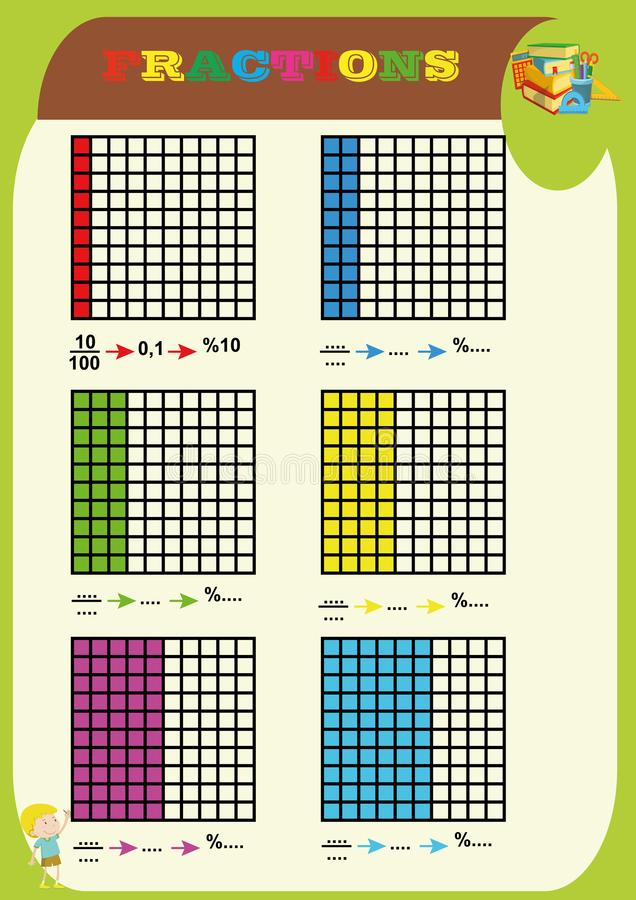 De decimaal en percentiles het aantal, omcirkelen de correcte fractie, Wiskunde, wiskundeaantekenvel voor jonge geitjescirkel het stock illustratie