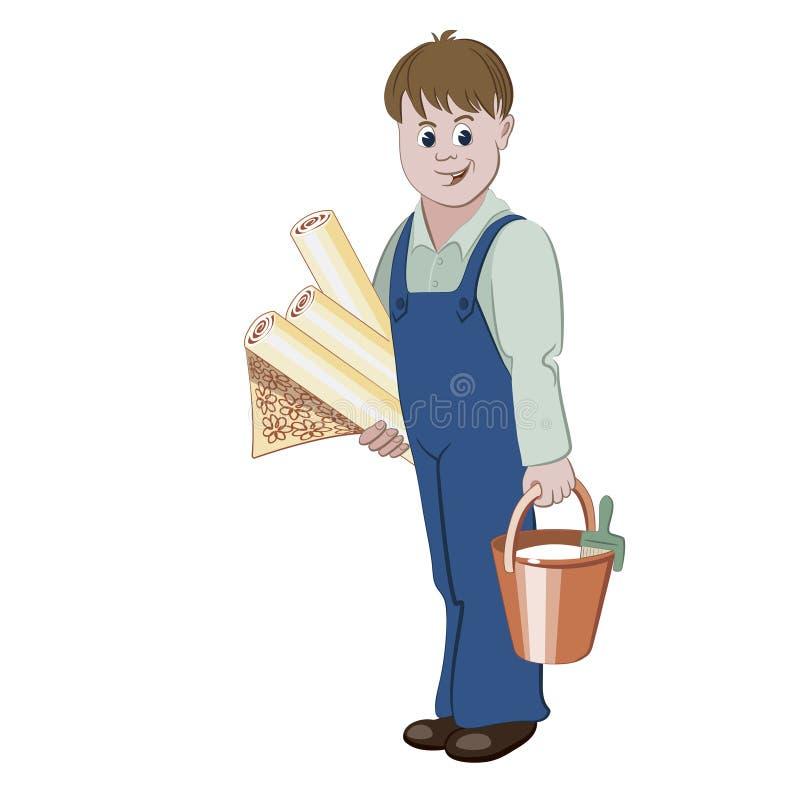 De decorateur of het manusje van alles die zich met broodjes van behang en een emmer lijm bevinden vector illustratie