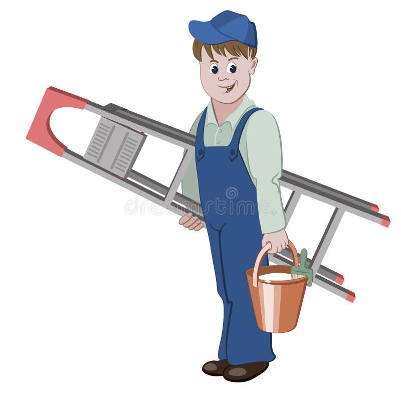 De decorateur of het manusje van alles zich met ladder bevinden en een emmer die lijm royalty-vrije illustratie