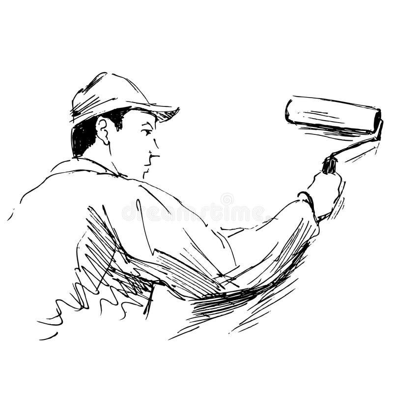 De decorateur van de handschets royalty-vrije illustratie