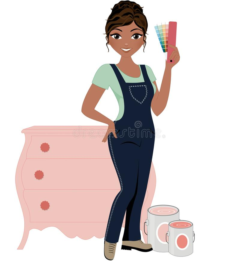De decorateur van het vrouwenmeubilair vector illustratie