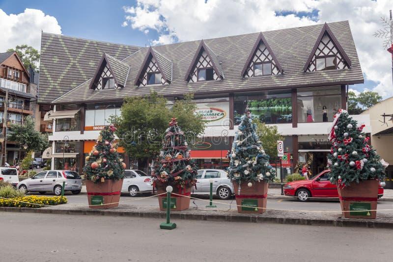 De Decoratie Gramado Brazilië van Kerstmis royalty-vrije stock afbeeldingen