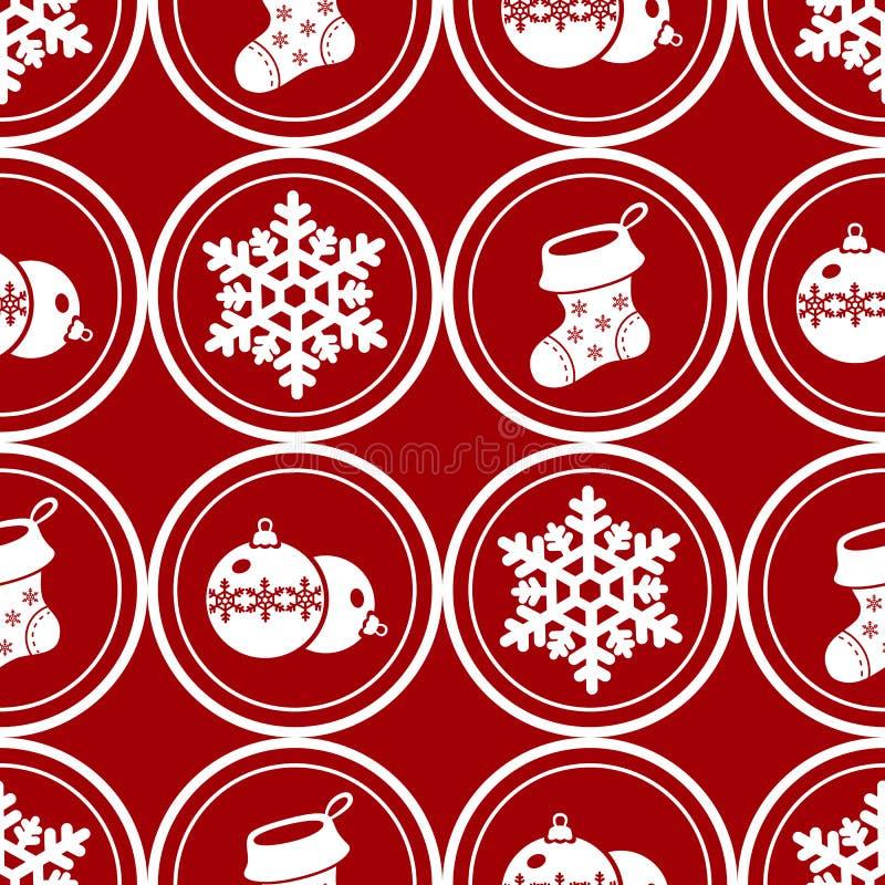 De decoratie naadloos patroon van Kerstmis Ronde Kerstmissymbolen royalty-vrije stock afbeelding