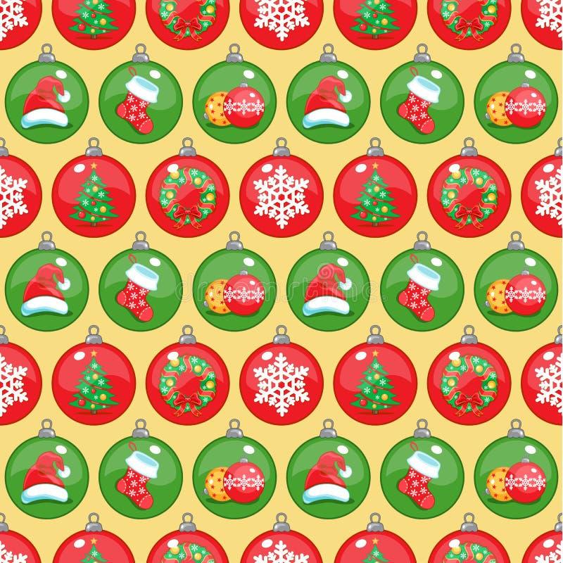 De decoratie naadloos patroon van Kerstmis Ronde Kerstmissymbolen royalty-vrije stock fotografie
