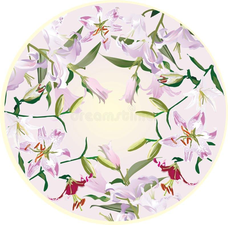 De decoratie van de cirkel met leliebloemen stock illustratie