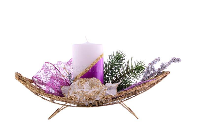 De decoratie van de Kerstmislijst die op wit wordt geïsoleerd royalty-vrije stock afbeelding