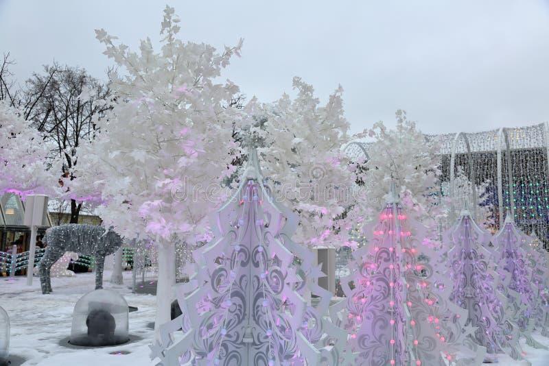 De decoratie van de Kerstmisstraat stock afbeeldingen