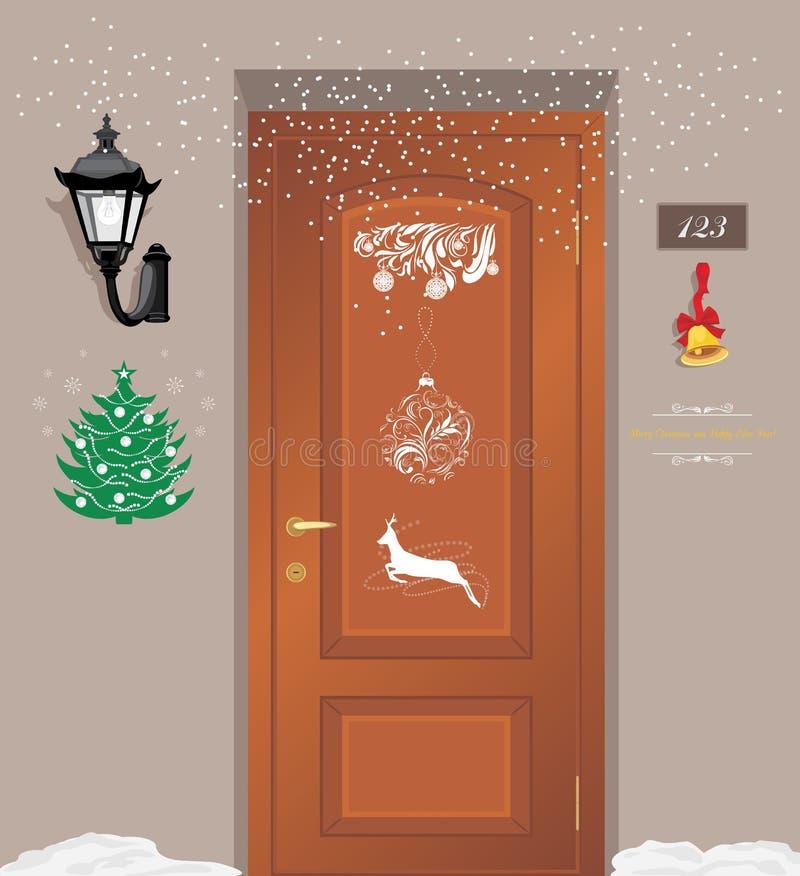 De decoratie van deurkerstmis stock illustratie