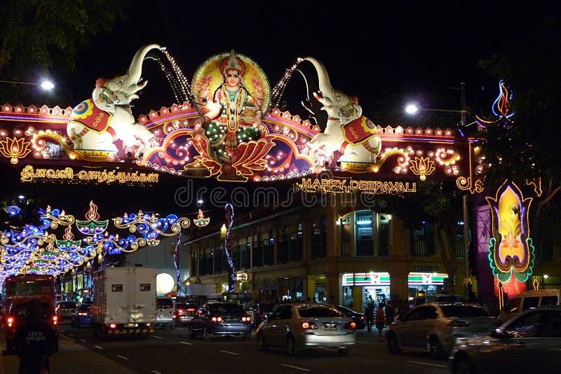 De decoratie van Divali in Weinig India, Singapore royalty-vrije stock fotografie