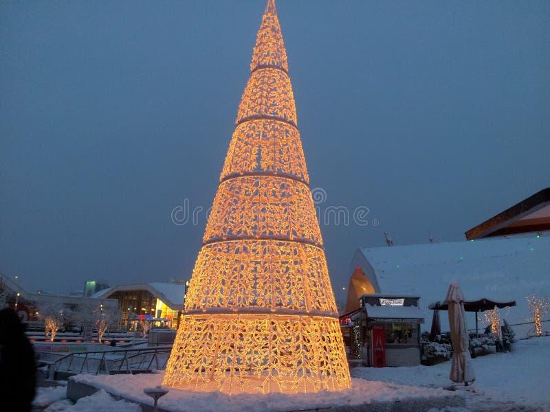 De Decoratie van de feekerstboom in Sneeuw royalty-vrije stock afbeelding