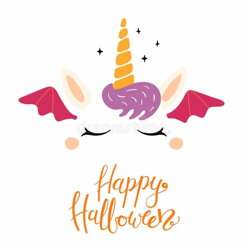 De decoratie van Halloween van het eenhoorngezicht royalty-vrije illustratie