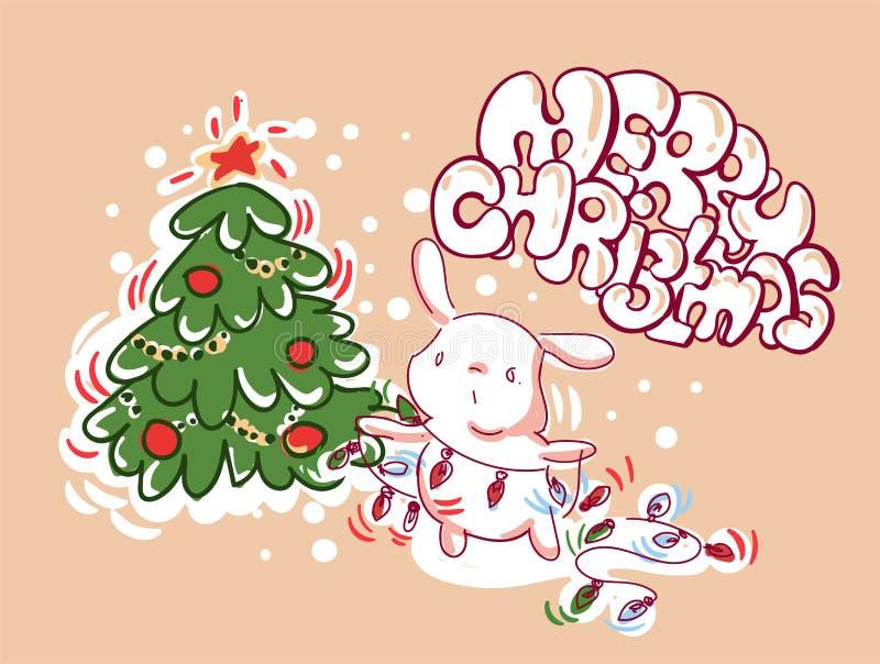 De decoratie van het Kerstmiskonijntje steekt de stijl van de kaartkrabbel aan royalty-vrije illustratie
