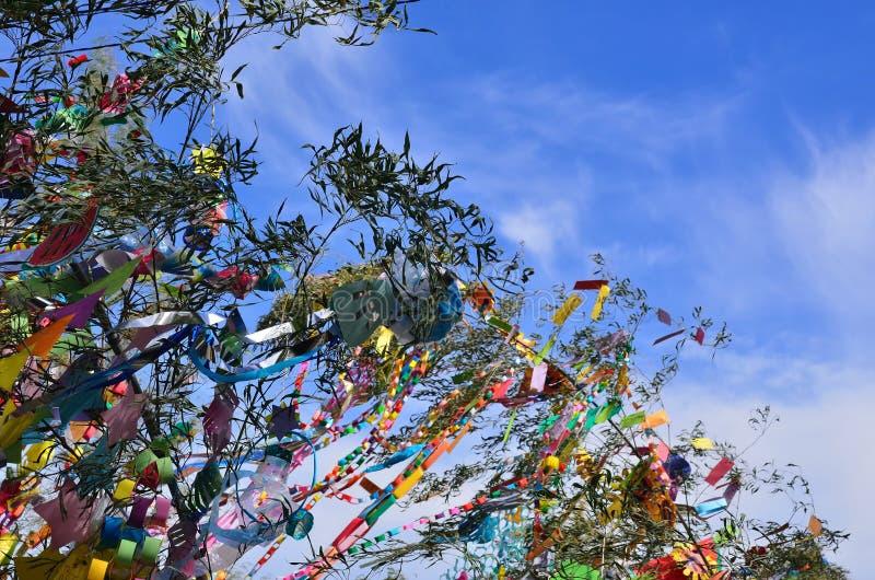 De decoratie van het Tanabatafestival, Kyoto Japan stock foto's