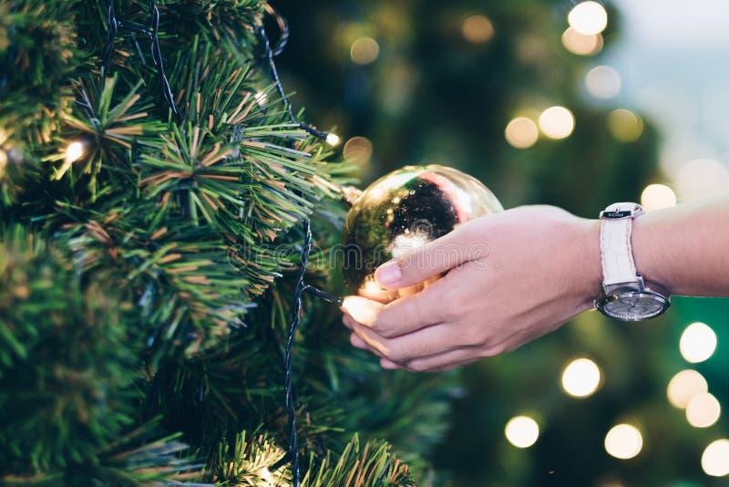 de decoratie van de holdingskerstmis van de vrouwenhand, giftdoos en de takken van de pijnboomboom stock fotografie