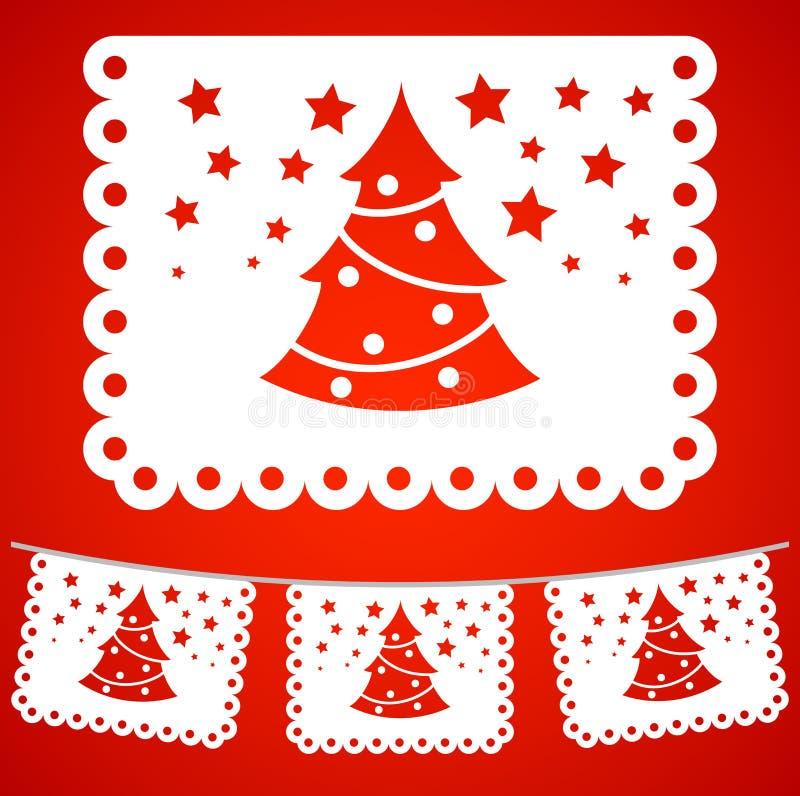 De decoratie van kerstboomstraten, illustratie van het vakantie de vectorelement royalty-vrije illustratie