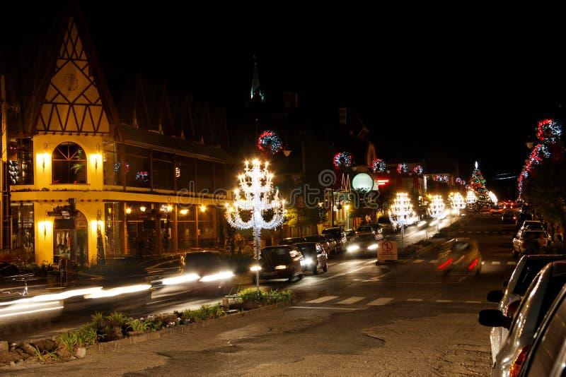 De Decoratie van Kerstmis bij Nacht royalty-vrije stock foto's