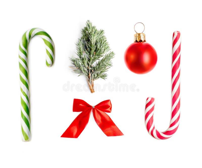 De decoratie van Kerstmis die op witte achtergrond wordt geïsoleerdh Kerstmis Collecti stock foto's