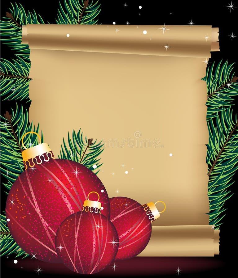 De decoratie van Kerstmis en oud manuscript stock illustratie