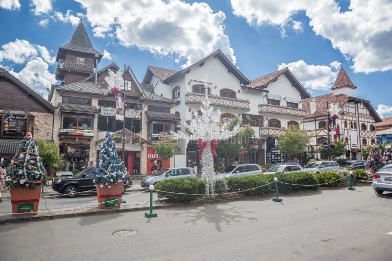 De Decoratie van Kerstmis in Gramado stock afbeeldingen