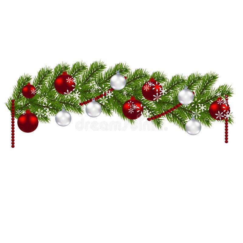 De decoratie van kerstmis groene takken van een kerstboom met rode en zilveren ballen en - Decoratie van de villas ...