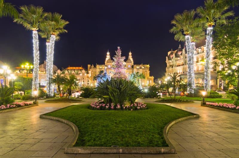 De decoratie van Kerstmis in Monaco, Monte Carlo, Frankrijk royalty-vrije stock afbeelding