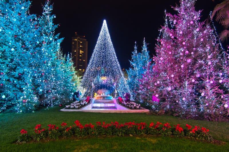 De decoratie van Kerstmis in Monaco, Monte Carlo, Frankrijk royalty-vrije stock foto's