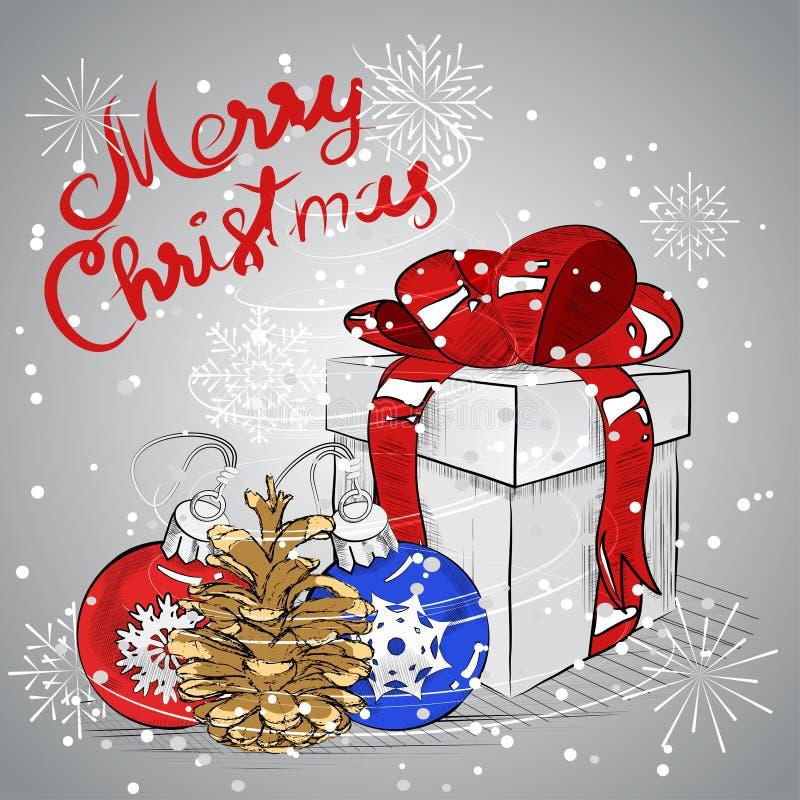 De decoratie van Kerstmis op blauw Vector beeld stock illustratie