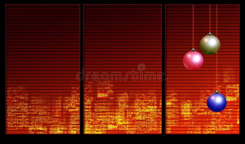 De decoratie van Kerstmis op het venster vector illustratie